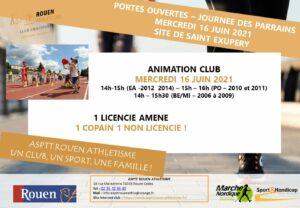 Portes ouvertes et journée des parrains de l'école d'athlétisme le mercredi 16 juin à Saint-Exupéry (Rouen)